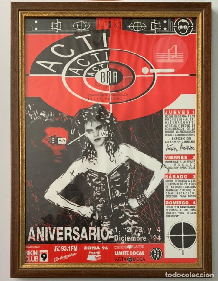 PÓSTER CARTEL DISCOTECA ACTV ACTI BAR VALENCIA RUTA DEL BACALAO 1994 FRANCIS MONTESINOS (Coleccionismo - Carteles Gran Formato - Carteles Ferias, Fiestas y Festejos)