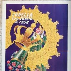 Carteles Feria: CARTEL CORELLA NAVARRA 1956 CORONACION NTRA SRA DEL VILLAR LITOGRAFIA GRANDE ORIGINAL PL. Lote 234640005