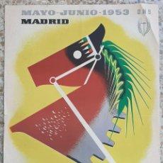 Cartazes Feira: CARTEL FERIA INTERNACIONAL DEL CAMPO MADRID 1953 DNS CABALLO LITOGRAFIA ORIGINAL PL. Lote 234644060