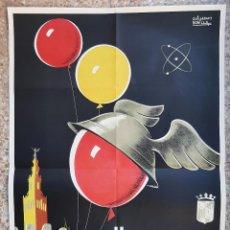 Carteles Feria: CARTEL II FERIA DE MUESTRAS SEVILLA 1959 GUILLERMO BONILLA GRANDE LITOGRAFIA ORIGINAL PL. Lote 234646200
