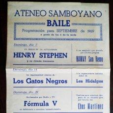 Carteles Feria: PROGRAMA DE BAILE 1969 EN EL ATENEU SAMBOIA EN SANT BOI DE LLOBREGAT CON LAS 4 ORQUESTAS DEL MOMENTO. Lote 235561150