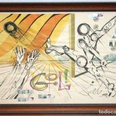 Affissi Fiera: CARTEL SALVADOR DALÍ. GOL! AÑO 1977 (CON SELLOS Y MATASELLOS MUNDIAL 1982) 55 X 75 CM.. Lote 238770530