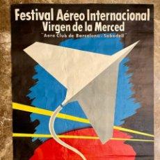 Carteles Feria: POSTER FESTIVAL AÉREO INTERNACIONAL VIRGEN DE LA MERCED - AERO CLUB DE BARCELONA (AÑO 1956). Lote 243484595