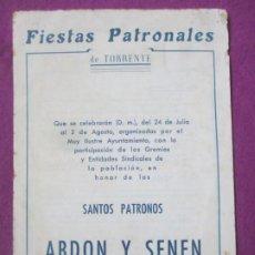 Affissi Fiera: LIBRO LIBRITO FERIA Y FIESTAS TORRENTE VALENCIA 1959 FIESTAS PATRONALES LV56. Lote 243582130
