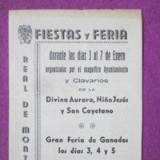 Affissi Fiera: LIBRO LIBRITO FERIA Y FIESTAS REAL DE MONTROY VALENCIA 1943 PROGRAMA FIESTAS LV68. Lote 243594215