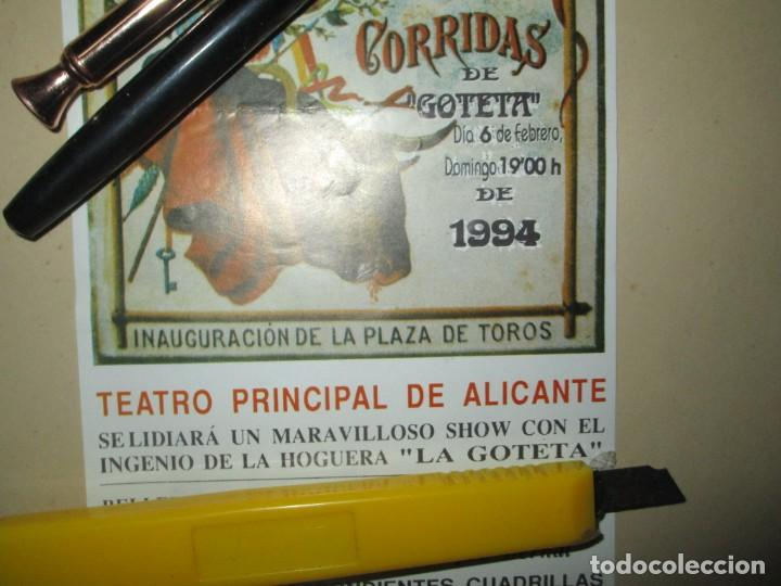 Carteles Feria: HOGUERA LA GOLETA ANTIGUO CARTEL ANUNCIADOR CAM 1994 ALICANTE INAUGURACION PLAZA TOROS ALICANTE - Foto 3 - 245755725