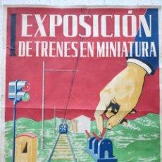 Carteles Feria: PRIMERA EXPOSICIÓN DE TRENES EN MINIATURA SAN SEBASTIAN 1952 LITOGRAFIA. Lote 251875645