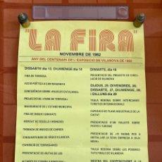 Carteles Feria: CARTEL LA FIRA, CENTENARI NOVEMBRE 1982, VILANOVA I LA GELTRÚ (BARCELONA). Lote 252939500