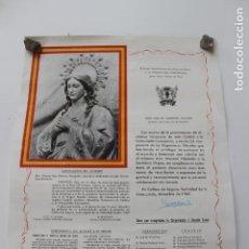 Affissi Fiera: ALCALDESA HONORARIA LA VIRGEN INMACULADA. CALLOSA DEL SEGURA, 1967, ALICANTE. Lote 253598335