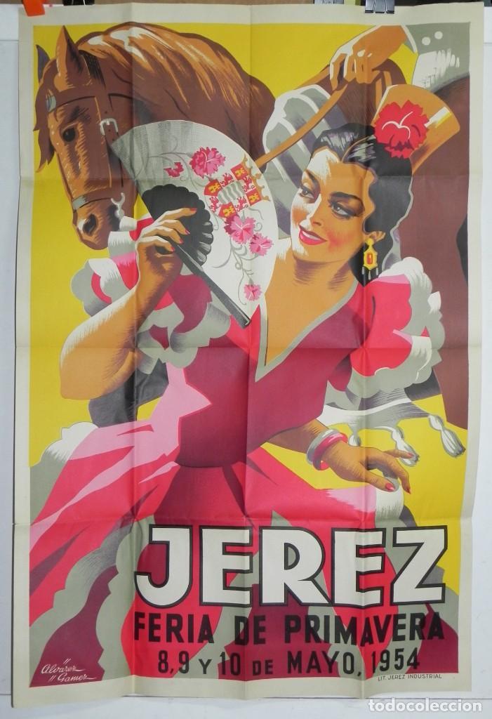 CARTEL DE FERIA DE LA PRIMAVERA DE JEREZ, MAYO DE 1954, ILUSTRADO POR ALVAREZ GAMEZ, LIT. JEREZ INDU (Coleccionismo - Carteles Gran Formato - Carteles Ferias, Fiestas y Festejos)