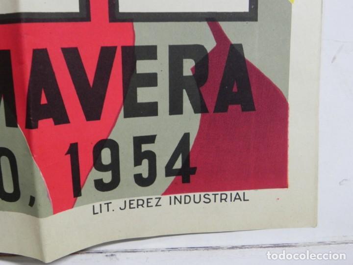 Carteles Feria: CARTEL DE FERIA DE LA PRIMAVERA DE JEREZ, MAYO DE 1954, ILUSTRADO POR ALVAREZ GAMEZ, LIT. JEREZ INDU - Foto 5 - 257324695