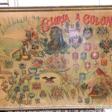 Carteles Feria: GRAN CARTEL GLORIA A COLON - RECUERDO 4º ANIVERSARIO - AÑO 1892 - CROMOLITOGRAFÍA ORIGINAL. Lote 262643505