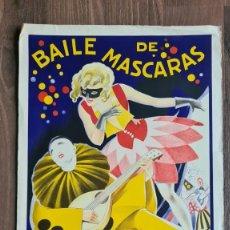 Affiches Foire: CARTEL BAILE DE MASCARAS DE LA CONFEDERACION DE LA SASTRERIA DE CATALUÑA 1931. R. FABREGAS. Lote 264186048