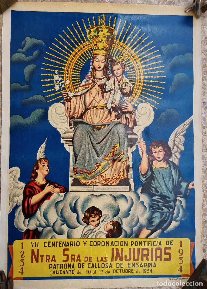 CARTEL CORONACION NTRA SRA DE LAS INJURIAS 1954 CALLOSA DE ENSARRIA ALICANTE LITOGRAFIA ORIGINAL (Coleccionismo - Carteles Gran Formato - Carteles Ferias, Fiestas y Festejos)
