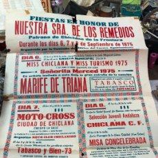 Carteles Feria: CARTEL FIESTAS VIRGEN REMEDIOS CHICLANA 1975 - MEDIDA 70X50 CM - CARTEL DOBLADO POR EL CENTRO. Lote 268423409