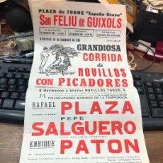 Carteles Feria: CARTEL PLAZA DE TOROS SA FELIU DE GUIXOLS 1965 - MEDIDA 747X23 CM - CARTEL DOBLADO POR EL CENTRO. Lote 268423824