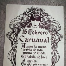Carteles Feria: ANTIGUO CARTEL CARNAVAL DISCOTECA PACHA (SITGES), AÑOS 70'S, ORIGINAL!!!, 55X44CM.. Lote 285036598