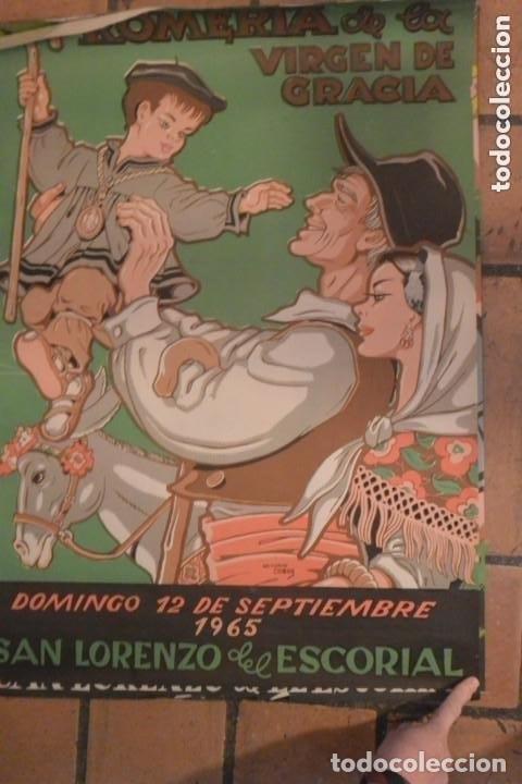 CARTEL ROMERIA DE VIRGEN GRACIA, SAN LORENZO ESCORIAL 1965 , AUTOR ANTONIO COBOS (Coleccionismo - Carteles Gran Formato - Carteles Ferias, Fiestas y Festejos)