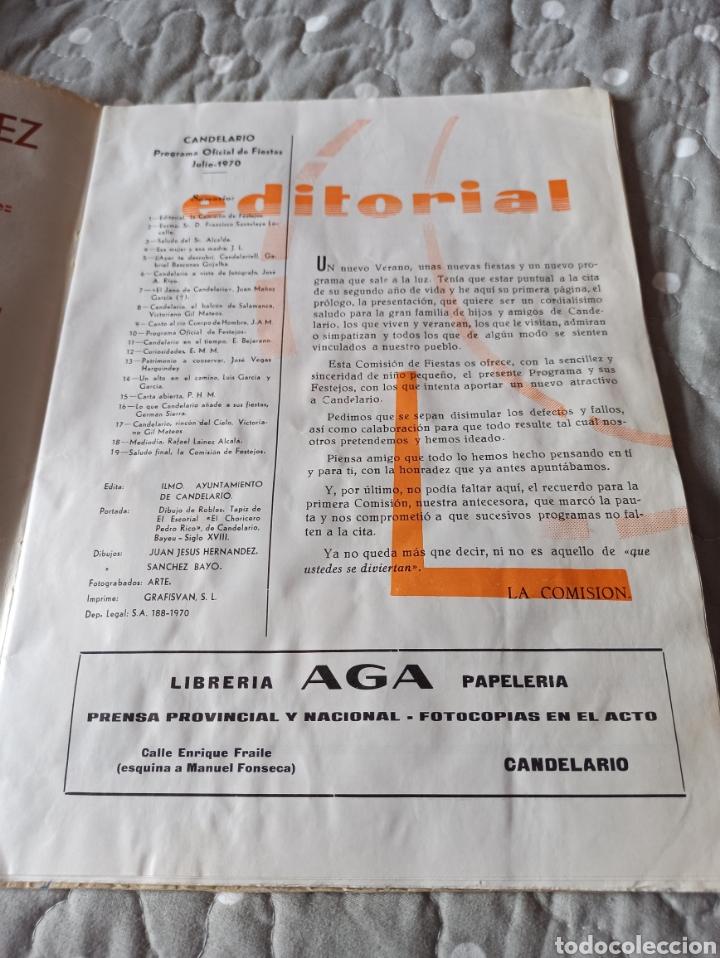 Carteles Feria: PROGRAMA FIESTAS CANDELARIO 1970 - Foto 2 - 286678938