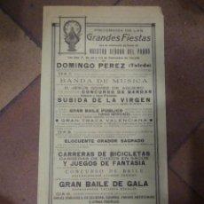 Carteles Feria: CARTEL FIESTAS SOLEMNES NTRA SRA. DEL PRADO VILLA DE DOMINGO PEREZ TOLEDO 1935 . IMP TALAVERA. Lote 286708583