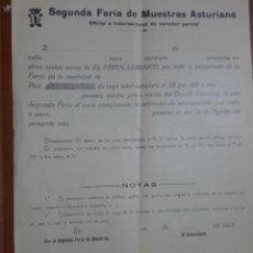 Carteles Feria: DOCUMENTO ANTIGUO. PRIMERA FERIA DE MUESTRAS ASTURIANA.. Lote 296068078