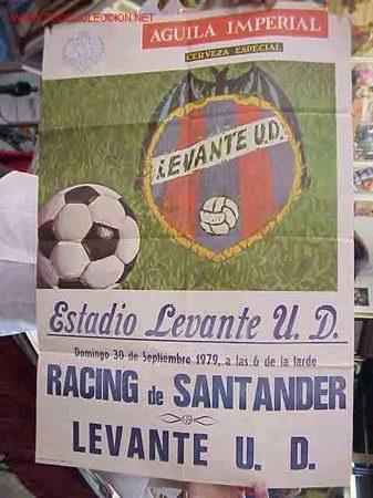 CARTEL FUTBOL LEVANTE U.D. - RACING SANTANDER - AÑO 1979 (Coleccionismo Deportivo - Carteles de Fútbol)
