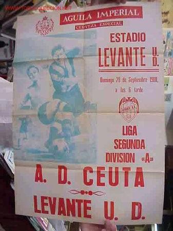 CARTEL FUTBOL LEVANTE U.D. - A.D. CEUTA - AÑO 1980 (Coleccionismo Deportivo - Carteles de Fútbol)