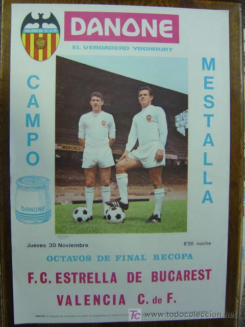 CARTEL DE FUTBOL - 8º DE FINAL DE RECOPA - VALENCIA C.F. - F.C. ESTRELLA DE BUCAREST - AÑO 1967 (Coleccionismo Deportivo - Carteles de Fútbol)