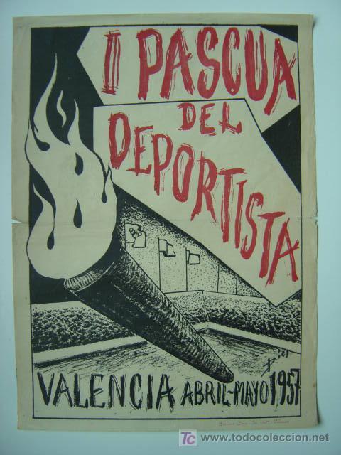 VALENCIA - III PASCUA DEL DEPORTISTA - ABRIL-MAYO DE 1957 (Coleccionismo Deportivo - Carteles de Fútbol)