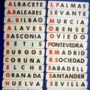 Coleccionismo deportivo: 24 NOMBRES DE EQUIPOS DE FUTBOL EN SOPORTE DE MADERA. + CIFRAS. AÑOS 50/60.. Lote 25648048