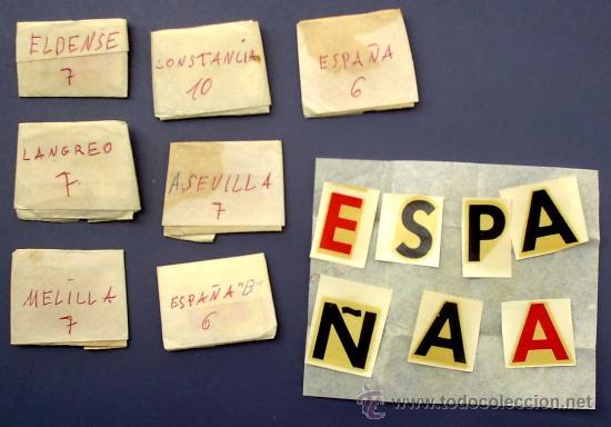 Coleccionismo deportivo: 24 NOMBRES DE EQUIPOS DE FUTBOL EN SOPORTE DE MADERA. + CIFRAS. AÑOS 50/60. - Foto 3 - 25648048