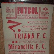 Coleccionismo deportivo: CARTEL DE FUTBOL PLASTIFICADO, AÑO 1934 EN EL CAMPO DE DEPORTE DEL MIRANDILLA. Lote 16662488