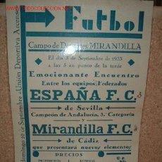 Coleccionismo deportivo: CARTEL DE FUTBOL PLASTIFICADO, AÑO 1933 EN EL CAMPO DE DEPORTE DEL MIRANDILLA. Lote 16662493