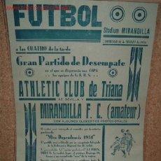 Coleccionismo deportivo: CARTEL DE FUTBOL PLASTIFICADO, AÑO 1934 EN EL STADIUM MIRANDILLA,DOMINGO 11/03/01934. Lote 16422827