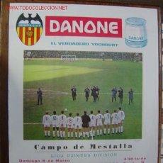 Coleccionismo deportivo: CARTEL DE FUTBOL - LIGA 1ª DIVISION ENTRE EL VALENCIA C.F. - REAL ZARAGOZA Y R.C.D. ESPAÑOL. Lote 21467472