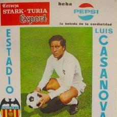Coleccionismo deportivo: CARTEL FUTBOL VALENCIA C.F. REAL SPORTING DE GIJON , CLARAMUNT , 1971. Lote 168680116
