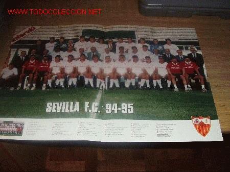SEVILLA CF: GRAN PÓSTER DE LA TEMPORADA 94-95 ( PLANTILLA ) (Coleccionismo Deportivo - Carteles de Fútbol)