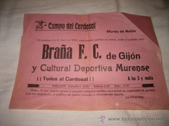 CAMPO DEL CARDOSAL MUROS DE NALON BRAÑA F.C-CULTURAL DEPORTIVA MURENSE 1933 (Coleccionismo Deportivo - Carteles de Fútbol)