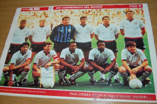 SELECCIÓN DE FÚTBOL DE INGLATERRA : LÁMINA DE 1990 (Coleccionismo Deportivo - Carteles de Fútbol)