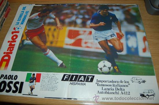 SELECCIÓN DE FÚTBOL DE ITALIA : PÓSTER DE PAOLO ROSSI, LA ESTRELLA DEL MUNDIAL 82 (Coleccionismo Deportivo - Carteles de Fútbol)