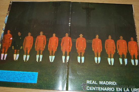 REAL MADRID : PÓSTER DE 1973 (100 PARTIDOS EN COPA DE EUROPA Y UNIFORME ROJO, POR 1º VEZ EN LA URSS) (Coleccionismo Deportivo - Carteles de Fútbol)