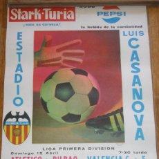 Coleccionismo deportivo: CARTEL FUTBOL VALENCIA C.F. - BILBAO MESTALLA - VILLARREAL MESTALLA- PAIPORTA ABRIL 1971 LIGA. Lote 26749952