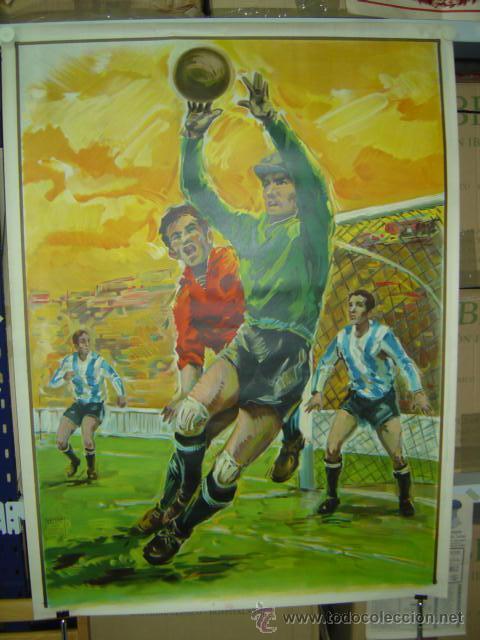 PRECIOSO CARTEL GRANDE DE FUTBOL - SIN IMPRIMIR - AÑO 1963 LITOGRAFIA (Coleccionismo Deportivo - Carteles de Fútbol)