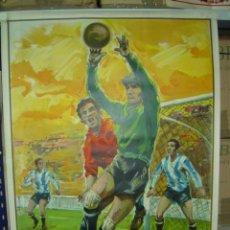 Coleccionismo deportivo: PRECIOSO CARTEL GRANDE DE FUTBOL - SIN IMPRIMIR - AÑO 1963 LITOGRAFIA. Lote 205114335