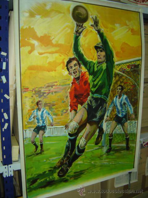 Coleccionismo deportivo: PRECIOSO CARTEL GRANDE DE FUTBOL - SIN IMPRIMIR - AÑO 1963 LITOGRAFIA - Foto 2 - 165042693