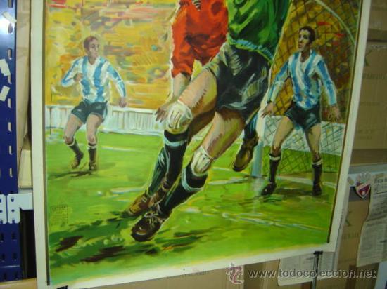 Coleccionismo deportivo: PRECIOSO CARTEL GRANDE DE FUTBOL - SIN IMPRIMIR - AÑO 1963 LITOGRAFIA - Foto 4 - 165042693