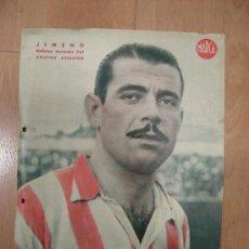 Coleccionismo deportivo: CARTEL DE FUTBOL MARCA. FUTBOLISTA JIMENO DEFENSA DERECHO DEL ATLETICO AVIACION. Lote 15194126