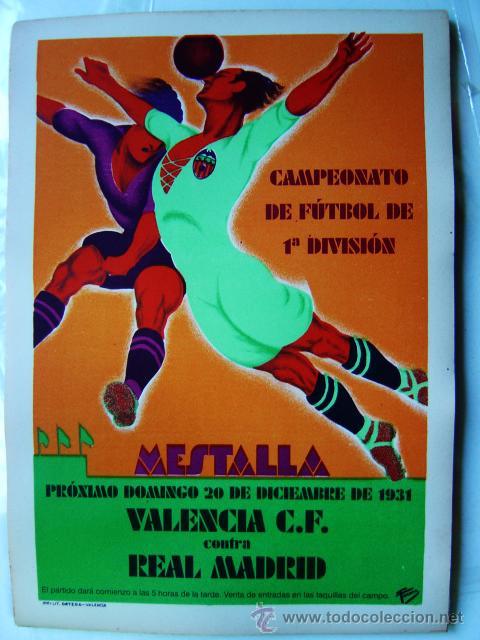 CARTEL FUTBOL MESTALLA - AÑO 1931 - REAL MADRID - LITOGRAFIA (Coleccionismo Deportivo - Carteles de Fútbol)