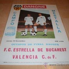 Coleccionismo deportivo: CARTEL FUTBOL PARTIDO VALENCIA - ESTRELLA DE BUCAREST RECOPA 1968. Lote 21108417