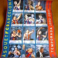 Coleccionismo deportivo: POSTER 12 FICHAS FC BARCELONA CAMPEON EUROLIGA BALONCESTO 2002-2003. BASKET. BASQUET. BARÇA.. Lote 270243393